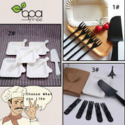 Disposable Plastic Tableware Knives Forks Dishes Kraft Box Cutlery Set For Party