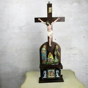 Xl Antique Standing Crucifix Plaster Corpus Calvary Group Stations Of Cross