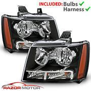 2007-14 Replacement Black Headlight Pair For Chevy Avalanche Suburban Tahoe