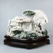 Chinese Exquisite Hand-carved Pine People Landscape Natural Dushan Jade Statue