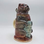 Vintage German Character Beer Stein With Dog Wearing Glasses - As Is 8 Tall