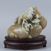 100 Natural Hetian Jade 糖料 Hand-carved Crane And Lotus Nephrit Statue