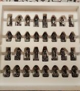 Tudor Mint Chess Set Powers Of Light Vs. Dark Pewter Pieces W/ Crystals 1993