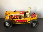 """1950s Marx 5 Wind-up Tin Litho Red/yellow Climbing Tractor W/driver 8"""" X 4.5"""""""