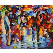 Leonid Afremovand039s - Standing In The Rain - Original Oil On Canvas