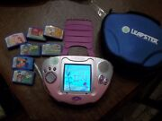 Leapster Pink Multimedia Learning System W/ 8 Smartridges Plus Case Nice