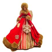 Red Imperial Angel Tree Topper Tabletop Christmas Decor Fur Lace Snowflakes