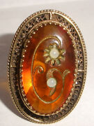 Rare Large Exquisite Antique Victorian 14k Gold Amber Flowers Cabochon Ring 6.25