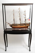 Large Tall Ship Model Boat Wood Display Case 40 X 69 Cabinet Stand W/ Legs New