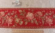 Antique C1870 French Hand Blocked Turkey Red Rose Border Fabricl-36x W-9