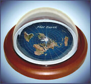 Flat Earth Map Dome Display Model - Wood Base Plastic Dome Gift