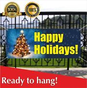 Happy Holidays Banner Vinyl /mesh Banner Sign Party Decor Many Sizes Christmas