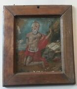 Saint Jerome And Lion 19th Century Oil On Tin Painting