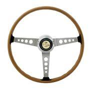 New 1965 - 1973 Ford Mustang Shelby Gt500 Woodgrain Steering Wheel With Center