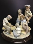 Lladro 7084 Boys Playing Cards A Very Nice Size Piece. 13 High
