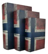 New - Wood Antique Book Box Set Of 3 - Brittania - Storage - Free Shipping