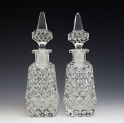 Pair Of Czech Crystal Perfume Bottles C1950 Deeply Hand Cut And Polished