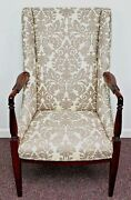 Antique Mahgany Sheraton Arm Chair Newly Re-upholstered In Waverly Linen Damask