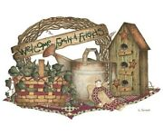 Americana Shirt Rustic Welcome Birdhouse Doll And Watering Can T-shirt Sm - 5x