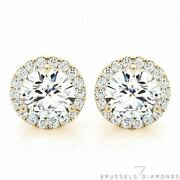 1.20 Ct H/si2 Natural Diamond Halo Earrings Round Cut Solid 14k Yellow Gold