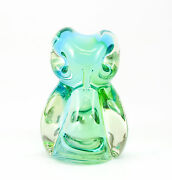 Chalet Glass Company Art Glass Green Owl Paperweight Signed And Original Label