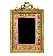 Continental Gilt Bronze And Red Tapestry Photo Frame 4x6 W/ Gilt Bronze Foliate