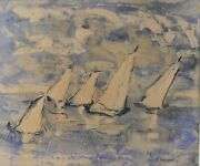 Alice Righter Edmiston American 1874 - 1964 Watercolor Painting Sailboats