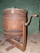 Antique Acme Bail Wood Butter Churn With Original Stand, Great Collectible