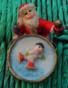 Resin Christmas Santa Claus Figurine Playing On An Opening Bass Drum, Snowman