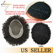 African American Afro Curly Mens Toupee French Lace Hair System For Black Men