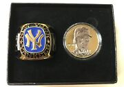 Derek Jeter Highland Mint 24kt Gold Coin And Ring Set Sp/2500 Yankees Paperweight