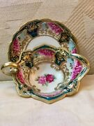 Nippon Rich Heavy Gold Gilding, Handpainted Roses Saucer And Plate