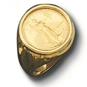 18k Solid Yellow Gold 20mm Mens Ring With 22k Fine Gold 1/10 Oz Us Liberty Coin