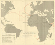 Middle East And French North Africa Sea Routes 1942 Operation Torch 1966 Old Map