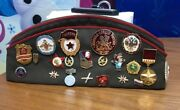 Rare Soviet Union Russian Military Hat And Pins. Ussr Cccp Badge Tank Patch Cap.