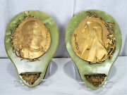 Pair Large Impressive Holy Water Font Jesus Mary Marble Brass Spain