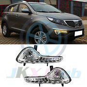 Clear Led Drl Daytime Running Lampandturning Signal For Kia Sportage Sport 10-14