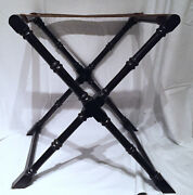 Vintage Folding Stand For Trays Boxes Ebonized And Turned