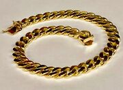14k Solid Yellow Gold Handmade Curb Link Menand039s Bracelet 7.5 Mm 8.5 35 Grams