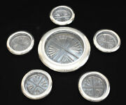 6pc Rb Rogers Sterling Silver And Pressed Glass Cup And Wine Bottle Coaster, C1950