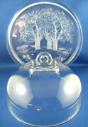 Rare Vintage Walther Glass Germany Crystal Sun Valley Dome Lidded Platter - Aust