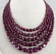 Natural Ruby Beads Long 5 Line 540 Carats Precious Gemstone Necklace For Ladies