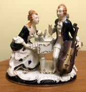 Antique Dresden Volkstedt Figurine With Two Musical Instrument