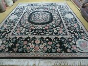 8and039 X10and039 Hand Made Chinese Floral Oriental Wool Rug Carpet Flower Bouquet Black