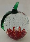 Beautiful Gibson Art Glass Apple Paperweight Paper Weight Controlled Air Bubbles