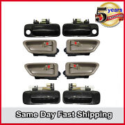 Door Handle 8pcs Set For 1997-2001 Toyota Camry Outside Black And Inside Tan