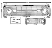 Ford Bronco Grille Without Logo Chrome 1969-1977 Dynacorn