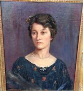 Harry R. Mileham 1873-1957 English And039portrait Of A Ladyand039 Oil/canvas 1922
