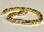 10k Solid Yellow Gold Mens Anchor Mariner Link Chain Bracelet 6 Mm 24 Grams 8