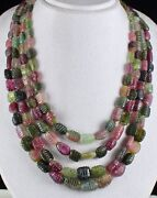 Natural Multi Colour Tourmaline Beads Carved Long 1074 Carats Gemstone Necklace